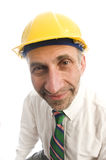 Contractor construction man with hard hat Royalty Free Stock Images