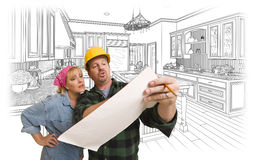 Contractor Discussing Plans with Woman, Kitchen Drawing Behind. Male Contractor in Hard Hat Discussing Plans with Woman, Kitchen Drawing Behind stock image