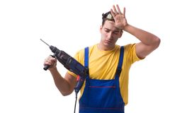 The contractor employee with hand power drill on white background. Contractor employee with hand power drill on white background Stock Image