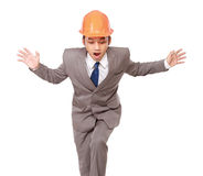 A contractor fear of falling Stock Image