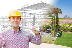 Contractor In Front of Drawing Gradating Into Photo of Finished. Patio Cover stock images