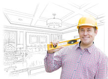 Contractor in Hard Hat Over Custom Bedroom Drawing and Photo Royalty Free Stock Photo
