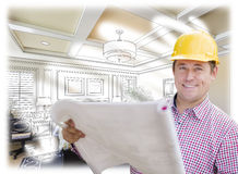 Contractor in Hard Hat Over Custom Bedroom Drawing and Photo Stock Photography