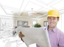 Contractor in Hard Hat Over Custom Bedroom Drawing and Photo Royalty Free Stock Image