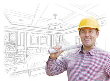 Contractor in Hard Hat Over Custom Bedroom Drawing Royalty Free Stock Images
