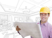Contractor in Hard Hat Over Custom Bedroom Drawing Stock Photos