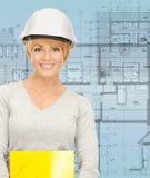 Contractor in helmet Royalty Free Stock Images