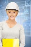 Contractor in helmet Royalty Free Stock Image