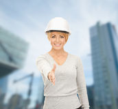 Contractor in helmet ready for handshake Stock Images