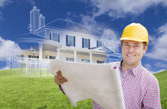 Contractor Holding Blueprints Over Custom Home Drawing And Photo Stock Image