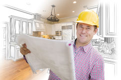 Contractor Holding Blueprints Over Custom Kitchen Drawing and Ph. Smiling Contractor Holding Blueprints Over Custom Kitchen Drawing and Photo Combination royalty free stock images