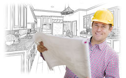 Contractor Holding Blueprints Over Custom Kitchen Drawing Royalty Free Stock Image