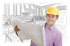 Contractor Holding Blueprints Over Custom Kitchen Drawing Royalty Free Stock Images
