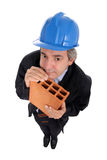 Contractor holding brick Stock Images