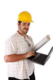 Contractor Holding Laptop Stock Images
