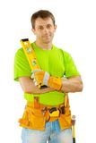 Contractor holding level Royalty Free Stock Photo