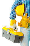 Contractor holding toolbox Stock Photography