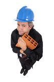 Contractor hugging brick stock images