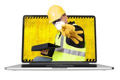 Contractor Inside Laptop Royalty Free Stock Photography