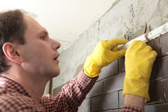 Contractor installing tiles Royalty Free Stock Photo