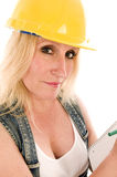 Contractor lady writing contract estimate Royalty Free Stock Photos