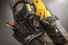 Contractor with Power Tool Royalty Free Stock Photos