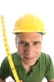 Contractor repairman with tool belt and hammer Royalty Free Stock Photo