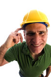 Contractor repairman with tool belt and hammer Royalty Free Stock Photography