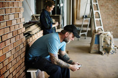 Contractor take a break after work Royalty Free Stock Photography