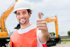 Contractor with thumbs up Royalty Free Stock Images