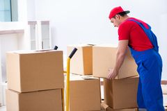 The contractor worker moving boxes during office move. Contractor worker moving boxes during office move royalty free stock photo
