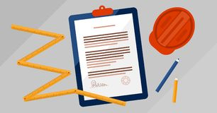 Contractors license agreement signed document vector illustration.Real estate construction business legal documentation. Contractors license agreement signed and stock illustration