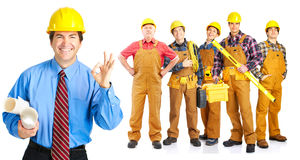 Contractors people. Industrial contractors workers people. Isolated over white background Stock Photos