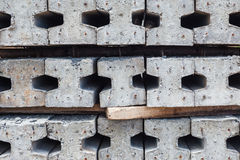 Contractors space for the storage of finished concrete pilings Stock Photo