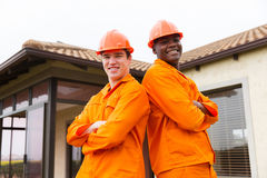 contractors standing house Stock Photos
