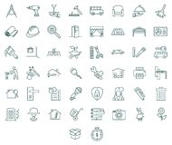 Contractors and tools icon set. Contractors and tools linear symbols. Flat and monochrome style Royalty Free Stock Images