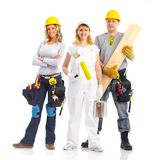 Contractors workers people. Industrial contractors workers people. Isolated over white background stock photos