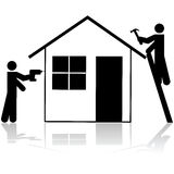 Contractors working on house Royalty Free Stock Images