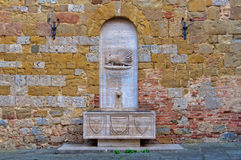 Contrada Sovrana dell'Istrice -锡耶纳喷泉  库存照片