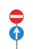 Contradiction. Conceptual image with road signs stock photography