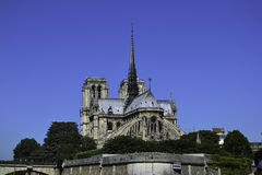 Contrafforti di volo e di Notre Dame osservati dalla Senna immagini stock libere da diritti