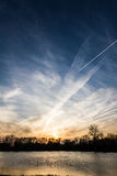 Contrail or chemtrail Royalty Free Stock Photo