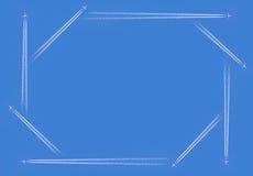 Contrailvliegtuigen octagram Stock Afbeelding