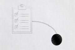 Contraintes de temps pour faire la liste avec la boule et la chaîne illustration de vecteur