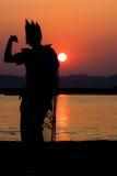 Contraluz de la puesta del sol de Birmania Imagen de archivo