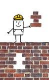 Contramestre dos desenhos animados que guarda uma parte faltante para uma parede Imagens de Stock Royalty Free