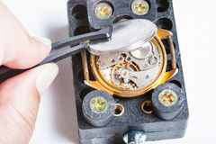 Contraportada de abertura del reloj de oro viejo Imágenes de archivo libres de regalías