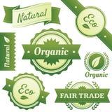 Contrassegni alla moda per naturale, organici, Eco, commercio giusto Immagine Stock