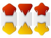 Contrassegni allegati - stella di pentagono del triangolo Fotografia Stock