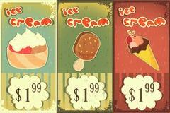 Contrassegni del gelato nello stile del grunge Immagini Stock Libere da Diritti